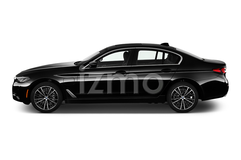Car Driver side profile view of a 2021 BMW 5-Series 530e-Sport 4 Door Sedan Side View