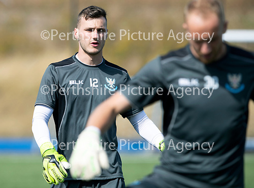 St Johnstone Training….27.07.18<br />Keeper Conor Mitchell warms-up during training<br />Picture by Graeme Hart.<br />Copyright Perthshire Picture Agency<br />Tel: 01738 623350  Mobile: 07990 594431