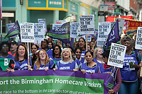 Striking Birmingham care workers hold a march and rally against proposed cuts to their hours. The event was organised by their Trade Union UNISON. Birmingham, England. 15-9-18