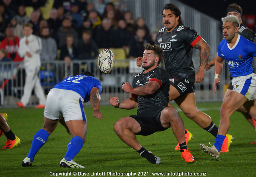 Samoa's D'Angelo Leuila tackles NZ's Alex Nankivell during the Steinlager Series rugby match between the Maori All Blacks and Manu Samoa at Mt Smart Stadium in Auckland, New Zealand on Saturday, 3 July 2021. Photo: Dave Lintott / lintottphoto.co.nz