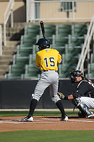 Pablo Reyes (15) of the West Virginia Power at bat against the Kannapolis Intimidators at CMC-Northeast Stadium on April 21, 2015 in Kannapolis, North Carolina.  The Power defeated the Intimidators 5-3 in game one of a double-header.  (Brian Westerholt/Four Seam Images)
