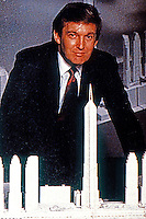 "Helmut Jahn: Donald Trump posing with Jahn-designed tallest building in world for Trump's proposed ""Television City"".  (Newsweek Dec. 2, 1985)."