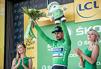 World Champion Peter Sagan (SVK/Bora Hansgrohe) on podium to receive the Green Jersey after winning stage 2.<br /> <br /> <br /> Stage 2: Mouilleron-Saint-Germain > La Roche-sur-Yon (183km)<br /> <br /> Le Grand Départ 2018<br /> 105th Tour de France 2018<br /> ©kramon