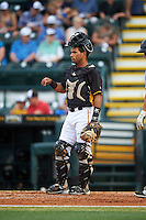 Bradenton Marauders catcher Tomas Morales (27) during a game against the Lakeland Flying Tigers on April 16, 2016 at McKechnie Field in Bradenton, Florida.  Lakeland defeated Bradenton 7-4.  (Mike Janes/Four Seam Images)
