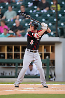 James Beresford (2) of the Rochester Red Wings at bat against the Charlotte Knights at BB&T BallPark on August 8, 2015 in Charlotte, North Carolina.  The Red Wings defeated the Knights 3-0.  (Brian Westerholt/Four Seam Images)