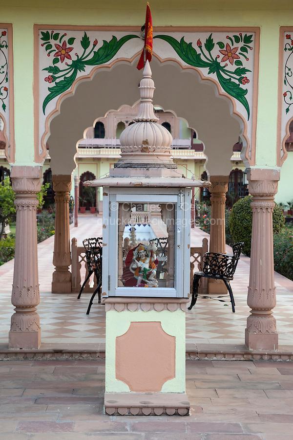 Bharatpur, Rajasthan, India.  Hindu Shrine Guarding Entrance to the Laxmi Vilas Palace, a Heritage Hotel.