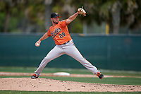 Baltimore Orioles pitcher Gray Fenter (29) during a Minor League Spring Training game against the Boston Red Sox on March 20, 2019 at the Buck O'Neil Baseball Complex in Sarasota, Florida.  (Mike Janes/Four Seam Images)