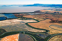 aerial photograph Napa salt pond wetland restoration project, Napa, California, view towards Mount Tamalpais and the Golden Gate