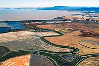 aerial photograph Napa salt pond wetland restoration project, Napa, California, view towards Mount Tamalpais and the Golden Gate