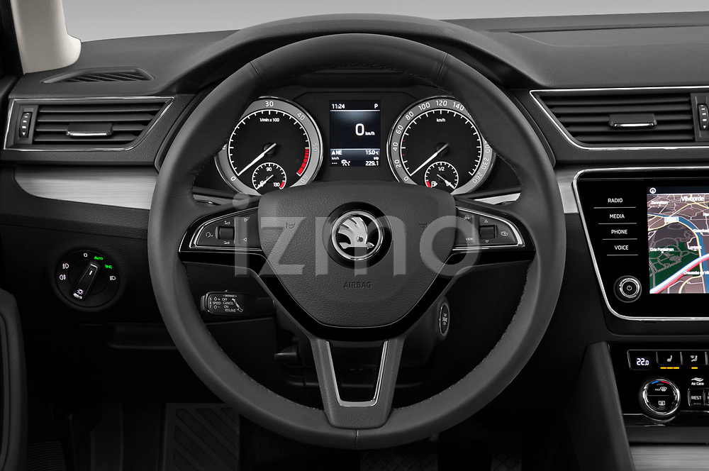 Car pictures of steering wheel view of a 2020 Skoda Superb Ambition 5 Door Hatchback