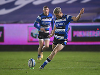 8th January 2021; Recreation Ground, Bath, Somerset, England; English Premiership Rugby, Bath versus Wasps; Rhys Priestland of Bath kicks a conversion