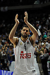 Real Madrid´s Felipe Reyes thank's the supporters during 2014-15 Euroleague Basketball Playoffs second match between Real Madrid and Anadolu Efes at Palacio de los Deportes stadium in Madrid, Spain. April 17, 2015. (ALTERPHOTOS/Luis Fernandez)
