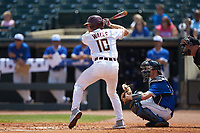 Taylor Walls (10) of the Florida State Seminoles at bat against the Duke Blue Devils in the first semifinal of the 2017 ACC Baseball Championship at Louisville Slugger Field on May 27, 2017 in Louisville, Kentucky. The Seminoles defeated the Blue Devils 5-1. (Brian Westerholt/Four Seam Images)