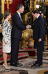 King Felipe VI of Spain (c), Queen Letizia of Spain (l) and Mariano Rajoy, President of Government of Spain during the National Day acts. October 12 ,2016. (ALTERPHOTOS/Pool)