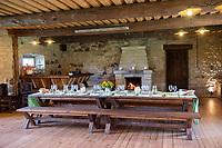 Estonia, Muhu Island. Muhu Jaanalind, guest house and farm. Ingrem Raidjoe (Daughter & owner), Helena Erik (mother & owner). Dining room.