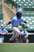 Tampa Bay Rays Lucius Fox (6) at bat during an Instructional League game against the Baltimore Orioles on October 2, 2017 at Ed Smith Stadium in Sarasota, Florida.  (Mike Janes/Four Seam Images)