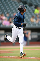 Center fielder Hansel Moreno (48) of the Columbia Fireflies in a game against the Rome Braves on Tuesday, June 4, 2019, at Segra Park in Columbia, South Carolina. Columbia won, 3-2. (Tom Priddy/Four Seam Images)