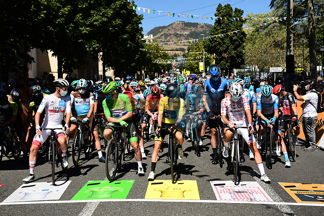 The leaders jerseys line up for the start of Stage 7 of Tour de France 2020, running 168km from Millau to Lavaur, France. 4th September 2020.<br /> Picture: ASO/Alex Broadway | Cyclefile<br /> All photos usage must carry mandatory copyright credit (© Cyclefile | ASO/Alex Broadway)