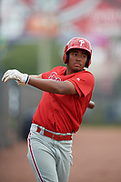 GCL Phillies East Marcus Lee Sang (9) on deck during a Gulf Coast League game against the GCL Yankees East on July 31, 2019 at Yankees Minor League Complex in Tampa, Florida.  GCL Phillies East defeated the GCL Yankees East 4-3 in the second game of a doubleheader.  (Mike Janes/Four Seam Images)