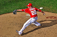 25 September 2011: Washington Nationals pitcher Drew Storen closes out the game, recording his 42nd save of the season, defeating the Atlanta Braves at Nationals Park in Washington, DC. The Nationals shut out the Braves 3-0 to take the rubber match third game of their 3-game series - the Nationals' final home game for the 2011 season. Mandatory Credit: Ed Wolfstein Photo