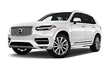 Stock pictures of low aggressive front three quarter view of a 2018 Volvo XC90 Inscription 5 Door SUV
