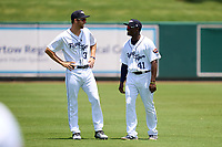 Lakeland Flying Tigers Gage Workman (37) and Daz Cameron (41) during warmups before a game against the Tampa Tarpons on May 16, 2021 at Joker Marchant Stadium in Lakeland, Florida.  (Mike Janes/Four Seam Images)