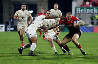 11 December 2020; Jacob Stockdale is tackled by Pita Ahki during the Heineken Champions Cup Pool B Round 1 match between Ulster and Toulouse at Kingspan Stadium in Belfast. Photo by John Dickson/Dicksondigital