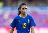 ORLANDO, FL - FEBRUARY 24: Julia #13 of Brazil looks to the ball during a game between Brazil and Canada at Exploria Stadium on February 24, 2021 in Orlando, Florida.