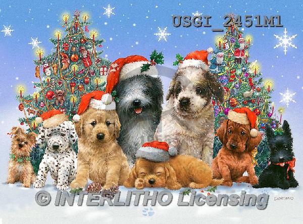 GIORDANO, CHRISTMAS ANIMALS, WEIHNACHTEN TIERE, NAVIDAD ANIMALES,dogs,puzzles, paintings+++++,USGI2451M1,#XA#