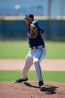 Atlanta Braves pitcher William Woods (25) during a Minor League Extended Spring Training game against the Tampa Bay Rays on April 15, 2019 at CoolToday Park Training Complex in North Port, Florida.  (Mike Janes/Four Seam Images)
