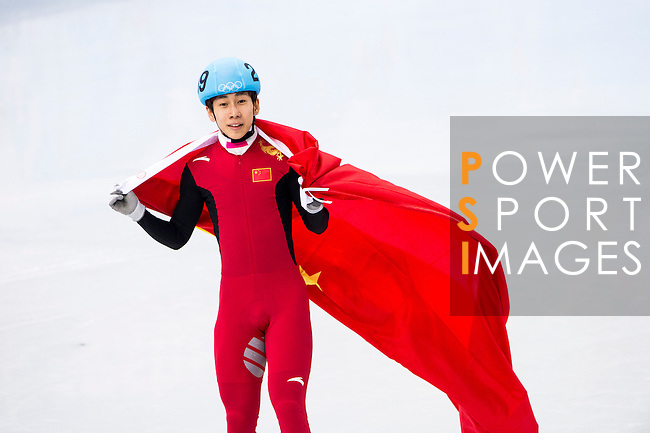 Tianyu Han of China celebrates after the Short Track Speed Skating as part of the 2014 Sochi Olympic Winter Games at Iceberg Skating Palace on February 10, 2014 in Sochi, Russia. Photo by Victor Fraile / Power Sport Images