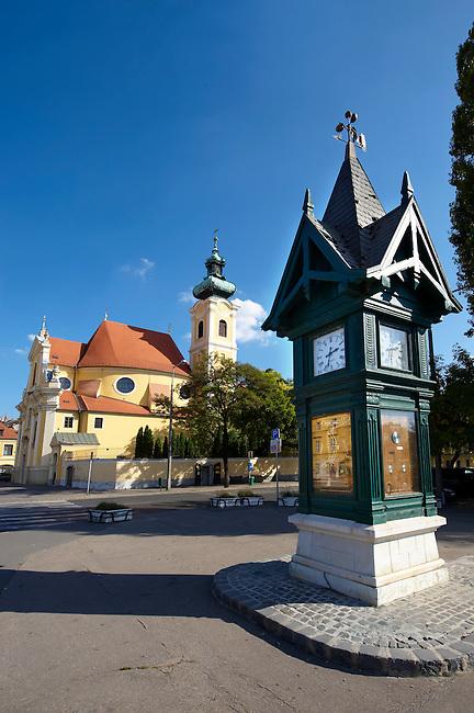 Weather Forecast Column and Carmelite church - Gyor ( Gy?r  ) Hungary