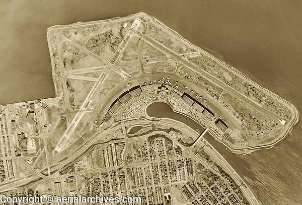 historical aerial photo map of LaGuardia International Airport (LGA) Queens, New York, 1954