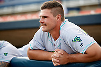 Lynchburg Hillcats first baseman Anthony Miller (40) before the second game of a doubleheader against the Frederick Keys on June 12, 2018 at Nymeo Field at Harry Grove Stadium in Frederick, Maryland.  Frederick defeated Lynchburg 8-1.  (Mike Janes/Four Seam Images)