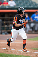 Ben Breazeale (39) of the Aberdeen IronBirds hustles down the first base line against the Hudson Valley Renegades at Leidos Field at Ripken Stadium on July 27, 2017 in Aberdeen, Maryland.  The Renegades defeated the IronBirds 2-0 in game one of a double-header.  (Brian Westerholt/Four Seam Images)