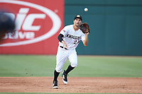 Charlotte Knights third baseman Patrick Leonard (20) fields a ground ball during the game against the Toledo Mud Hens at BB&T BallPark on June 22, 2018 in Charlotte, North Carolina. The Mud Hens defeated the Knights 4-0.  (Brian Westerholt/Four Seam Images)