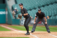 Vanderbilt Commodores first baseman Julian Infante (22) on defense as first base umpire Matt McKendry looks on during the game against the Sam Houston State Bearkats in game one of the 2018 Shriners Hospitals for Children College Classic at Minute Maid Park on March 2, 2018 in Houston, Texas. The Bearkats walked-off the Commodores 7-6 in 10 innings.   (Brian Westerholt/Four Seam Images)