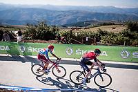 Tao Geoghegan Hart (GBR/Ineos) & Ruben Guerreiro (POR/Katusha-Alpecin) fight it out for 3rd in the stage 15 finale<br /> <br /> Stage 15: Tineo to Santuario del Acebo (154km)<br /> La Vuelta 2019<br /> <br /> ©kramon
