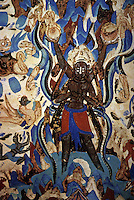 "Chinese Buddhist Art:  ""Mount Sumeru"" cave mural, Western WEI, mid-6th C.  In ancient Indian cosmology, Mt. Sumeru was the center of the Universe. Depicted here, a four-armed demigod defeated by Indra is now forced to stand for eternity, holding up the sun and moon.  CHINESE PAINTING."