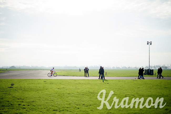 Ian Field (GBR/Hargroves Cycles) getting back to his camper after the recon<br /> <br /> Koksijde CX World Cup 2014