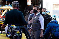 Actor Tom Cruise and film director Christopher McQuarrie on the set of the film Mission Impossible 7 at Spagna square, just under the Spanish steps.<br /> Rome (Italy), November 22nd 2020<br /> Photo Samantha Zucchi Insidefoto