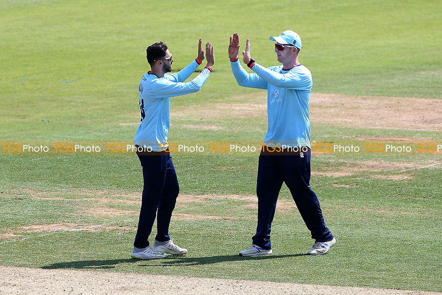 Aron Nijjar of Essex celebrates with his team mates after taking the wicket of Ian Holland during Hampshire Hawks vs Essex Eagles, Royal London One-Day Cup Cricket at The Ageas Bowl on 22nd July 2021