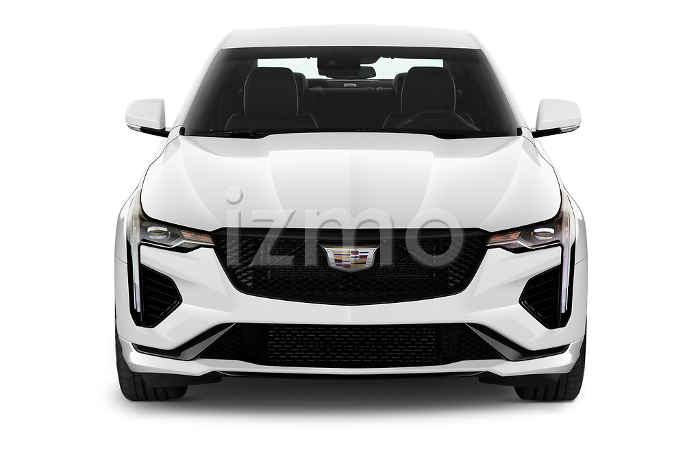 Car photography straight front view of a 2020 Cadillac CT4-V V-Series 4 Door Sedan Front View