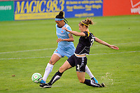 Natasha Kai (6) of Sky Blue FC and Allison Falk (3) of the Los Angeles Sol. Sky Blue FC and the Los Angeles Sol played to a 0-0 tie during a Women's Professional Soccer match at Yurcak Field in Piscataway, NJ, on June 13, 2009.