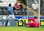 St Mirren v St Johnstone...19.10.13      SPFL<br /> Nigel Hasselbaink puts the ball beyond Chris Dilo for Steven MacLean to tap in to make it 1-1<br /> Picture by Graeme Hart.<br /> Copyright Perthshire Picture Agency<br /> Tel: 01738 623350  Mobile: 07990 594431