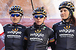 Wiggle Honda team at sign on before start the 2015 Strade Bianche Women Elite cycle race 103km over the white gravel roads from San Gimignano to Siena, Tuscany, Italy. 8th March 2015<br /> Photo: Eoin Clarke www.newsfile.ie
