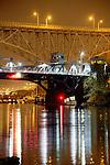 Seattle, Fremont bridge, (foreground), Aurora bridge, aging infrastructure, Lake Washington Ship Canal, Queen Anne neighborhood, Washington State, Pacific Northwest, USA,