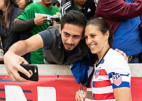 Houston, TX - Sunday April 08, 2018: Fan, Carli Lloyd during an International Friendly soccer match between the USWNT and Mexico at BBVA Compass Stadium.