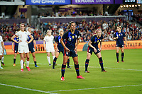 ORLANDO, FL - MARCH 05: Carli Lloyd #10 of the United States defending on a cornerkick during a game between England and USWNT at Exploria Stadium on March 05, 2020 in Orlando, Florida.