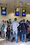 Spain, Canary Islands, La Palma, airport of La Palma, Check-In, queue, waiting line